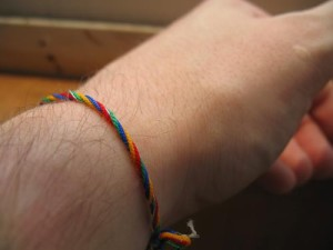 Colourful bracelet on your dear webmaster's hair wrist