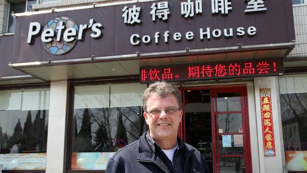 Kevin Garratt outside his coffee shop in Dandong, Liaoning, China.